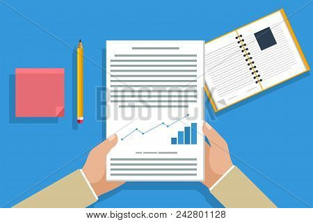 Businessman Flat Design Read Note In A Notebook, Pencil Mark, Document Infographic, Read A Contract.