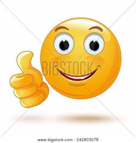 Emoji Thumb Up. Laik. Cool. Emoticon Showing Thumb Up. Vector Illustration