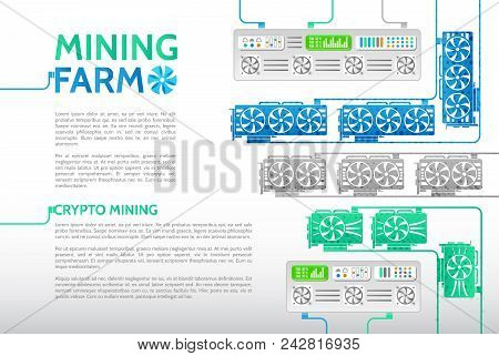 Computer Equipment For Mining Cryptocurrency. Abstract Cryptocurrency Mining Farm. Server Room Rack.