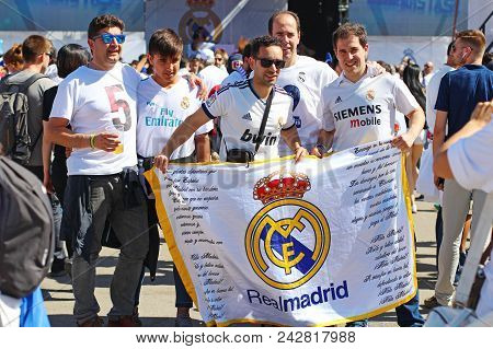 Kyiv, Ukraine - May 26, 2018: Real Madrid Football Fans Taking Photo At The Day Of Uefa Champions Le