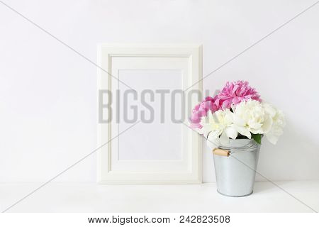 White Blank Wooden Frame Mockup. Wedding Table Still Life Composition With Floral Bouquet Made Of Pi