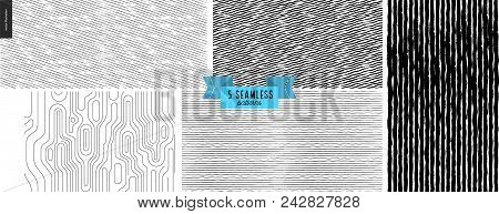 Set Hand Drawn Black, White Fabric Pattern. Vector Seamless Pattern. Abstract Background, Brush Stro
