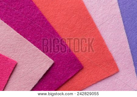 Fan Of Colored Bright Felt Textile Material. Samples Of Soft Felt Flaps In Different Colours. Felt C