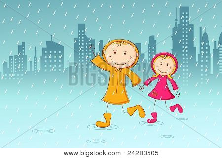 kids playing in rainy day