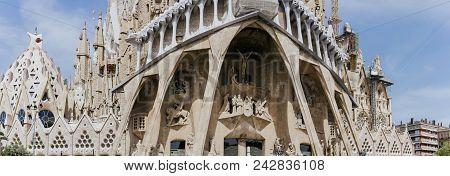 Barcelona, Spain - April 25, 2018: La Sagrada Familia - The Impressive Cathedral Designed By Gaudi,