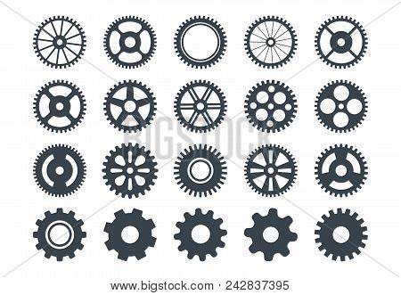 Cogwheel Machine Gear Icon, Set Of Gear Wheels. Vector Illustration, Isolated.
