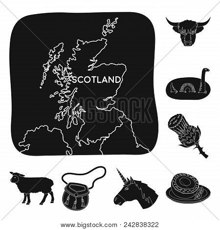 Country Scotland Black Icons In Set Collection For Design. Sightseeing, Culture And Tradition Vector