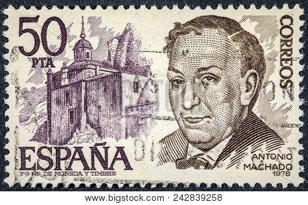 Spain - Circa 1978: A Stamp Printed In Spain Shows Antonio Machado
