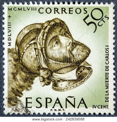Spain - Circa 1958: A Stamp Printed By Spain Shows Image Portrait Of Charles V Holy Roman Emperor Ca