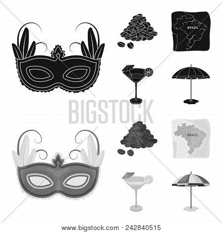 Brazil, Country, Mask, Carnival . Brazil Country Set Collection Icons In Black, Monochrome Style Vec