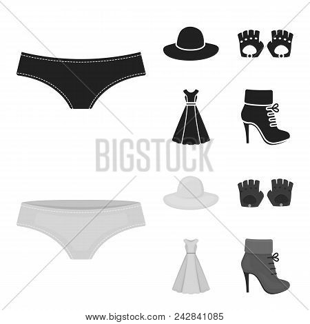 Panties, Gloves, Dress, Hat. Clothing Set Collection Icons In Black, Monochrome Style Vector Symbol