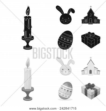 Church, Candle, Easter Bunny And Painted Egg.easter Set Collection Icons In Black, Monochrome Style
