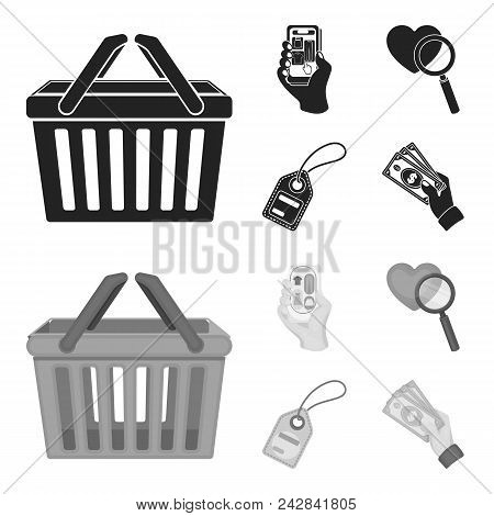 Hand, Mobile Phone, Online Store And Other Equipment. E Commerce Set Collection Icons In Black, Mono