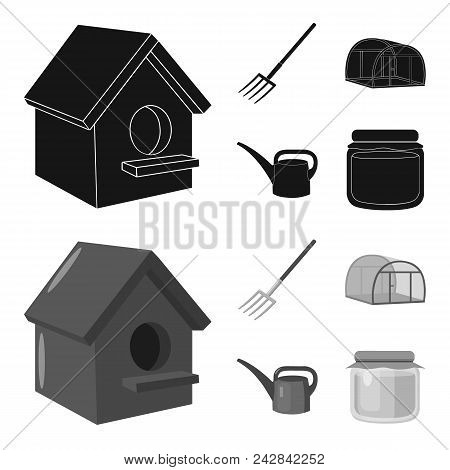 Poultry House, Pitchfork, Greenhouse, Watering Can.farm Set Collection Icons In Black, Monochrome St