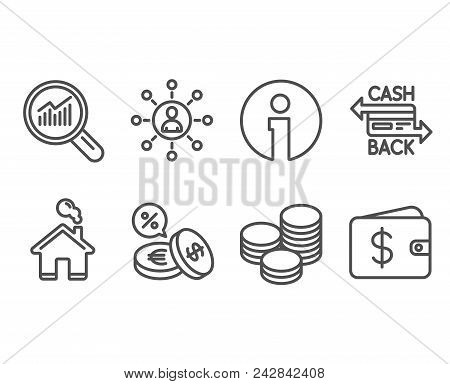 Set Of Data Analysis, Currency Exchange And Cashback Card Icons. Networking, Tips And Dollar Wallet