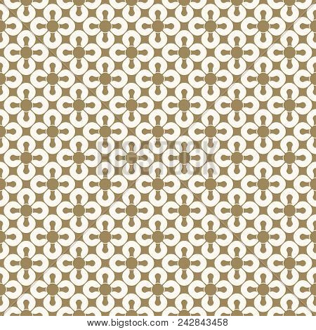 Golden Geometric Seamless Pattern. White And Gold Floral Ornamental Background, Repeat Tiles, Curved