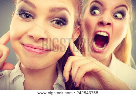 Conflict, Bad Relationships, Friendship Difficulties. Two Young Women Having Argument. Angry Fury Gi