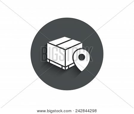 Parcel Tracking Simple Icon. Delivery Monitoring Sign. Shipping Box Location Symbol. Circle Flat But
