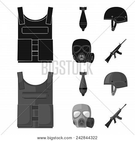 Bullet-proof Vest, Mine, Helmet, Gas Mask. Military And Army Set Collection Icons In Black, Monochro
