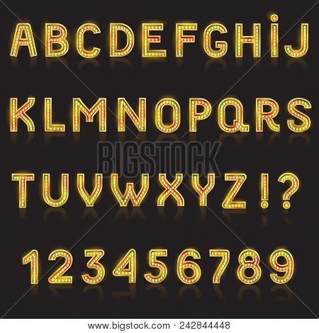 Alphabet Abc Vector Glowing Alphabetical Font With Bright Glitter Letters Alphabetic Typography Illu