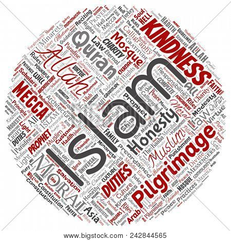 Conceptual islam, prophet, mosque round circle red word cloud isolated background. Collage of muslim, ramadam, quran, pilgrimage, allah, duties, art, calligraphy, oriental, tradition concept