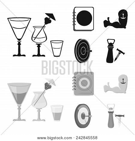 Menu, Armor With Tattoo, Darts, Corkscrew And Opener.pub Set Collection Icons In Black, Monochrom St