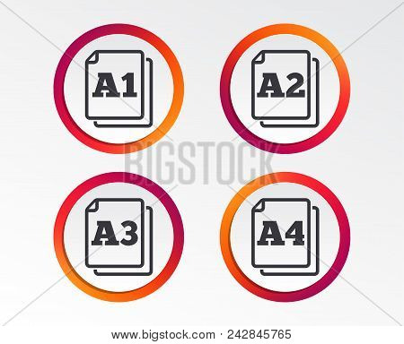 Paper Size Standard Icons. Document Symbols. A1, A2, A3 And A4 Page Signs. Infographic Design Button