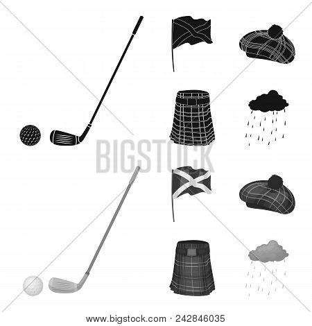 Flag, Kilt, Rainy Weather, Cap.scotland Country Set Collection Icons In Black, Monochrom Style Vecto