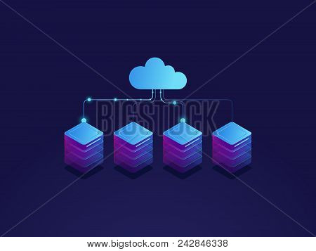Server room, cloud storage icon, datacenter and database concept, data exchange process isometric dark vector poster