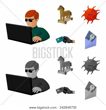 Hacker, Hacking, System, Internet .hackers And Hacking Set Collection Icons In Cartoon, Monochrome S