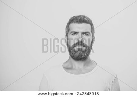 Man With Serious Emotion. Man With Long Beard And Mustache. Hipster With Serious Face. Guy Or Bearde