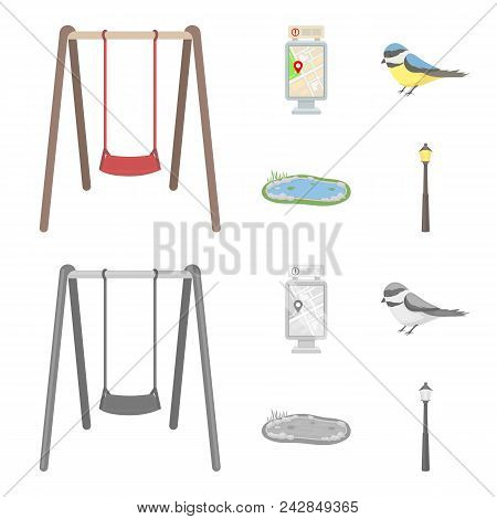 Territory Plan, Bird, Lake, Lighting Pole. Park Set Collection Icons In Cartoon, Monochrome Style Ve