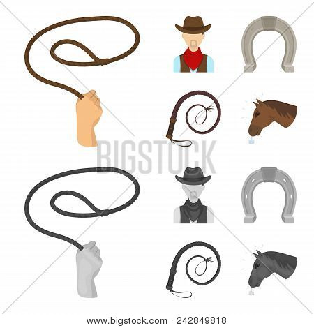 Hand Lasso, Cowboy, Horseshoe, Whip. Rodeo Set Collection Icons In Cartoon, Monochrome Style Vector