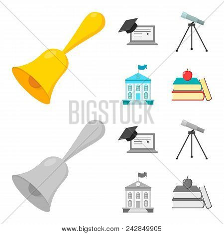 School Bell, Computer, Telescope And School Building. School Set Collection Icons In Cartoon, Monoch