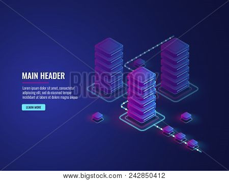 Isometric Data Flow Processing, Data Protection And Encryption Process, Server Room, Data Center And