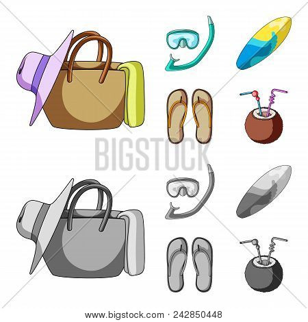 Diving, Surfing, Cocktail.summer Vacation Set Collection Icons In Cartoon, Monochrome Style Vector S
