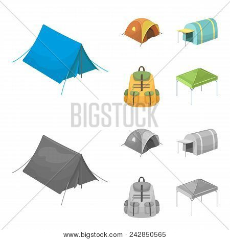 Backpack And Other Kinds Of Tents.tent Set Collection Icons In Cartoon, Monochrome Style Vector Symb