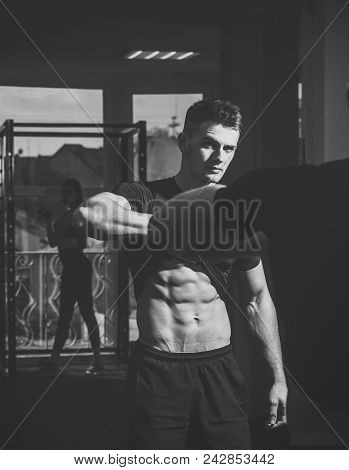 Mens Heals Body Care. Man With Torso, Muscular Macho And His Reflexion In Mirror Background. Sportsm