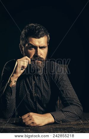 Man With Serious Emotion. Business And Success. Man In Formal Outfit Isolated On Black Background. M