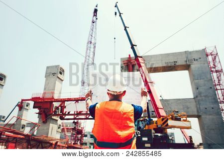 Site engineer at a construction site