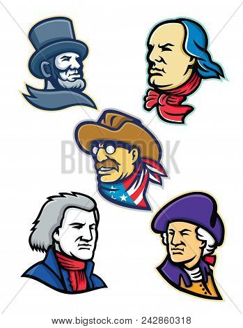 Mascot Icon Illustration Set Of Heads Of American Presidents, Patriot, Heroes And Statesman Like Abr