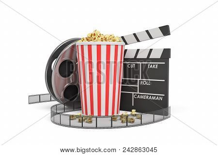 3d Rendering Of A Video Reel, Popcorn Bucket And A Clapperboard On A White Background. Cinema And Mo