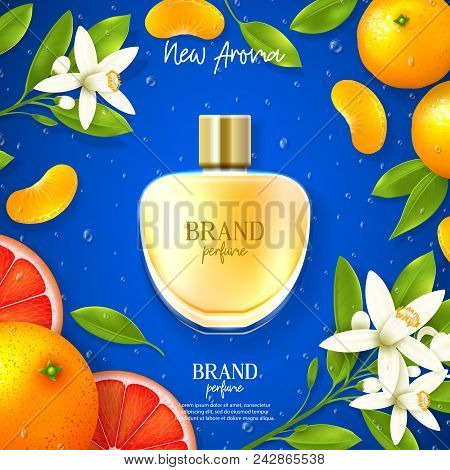 Promo Banner Of Luxury Perfume Brand. Top View On Realistic Glass Bottle On Blue Background With Cit