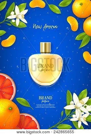 Ad Poster Of Luxury Perfume Brand. Top View On Realistic Glass Bottle On Blue Background With Citrus