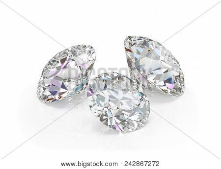 Three Large, Beautiful Diamonds. 3d Image. White Background.