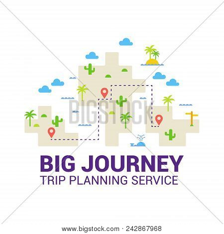 Trip Planning Service. Cheap Flights. The Concept Of Travel. Vector Flat.
