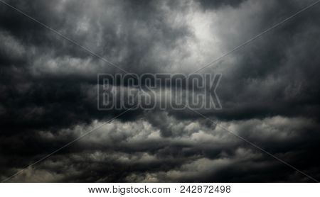 Dramatic Dark Sky And Clouds. Cloudy Sky Background. Black Sky Before Thunder Storm And Rain. Backgr