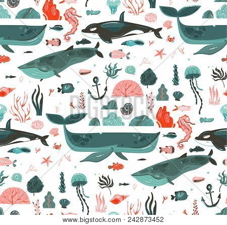 Hand Drawn Vector Abstract Cartoon Graphic Summer Time Underwater Ocean Bottom Illustrations Seamles