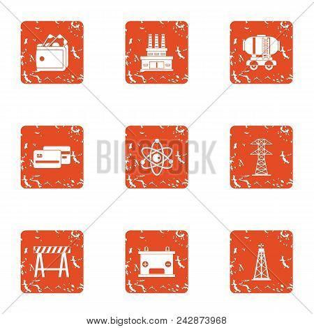 Commerce Manufacturing Icons Set. Grunge Set Of 9 Commerce Manufacturing Vector Icons For Web Isolat