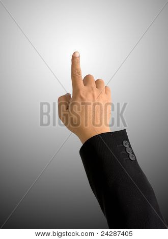 Index Finger Pointing On Round Gradient Background